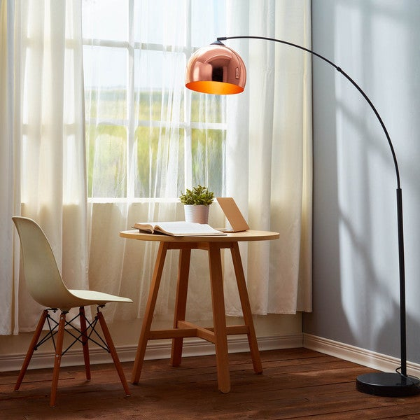 Arquer arc floor lamp with copper shade and black marble for Arc floor lamp with copper shade