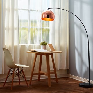 Arquer Arc Floor Lamp With Copper Shade And Black Marble Base (67 Inches)