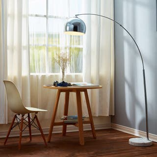 Arquer Arc Floor Lamp with White Shade and White Marble Base (67 inches)|https://ak1.ostkcdn.com/images/products/11607893/P18545532.jpg?impolicy=medium