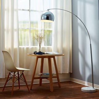 arquer arc floor lamp with white shade and white marble base 67 inches