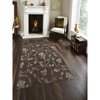 Hand-Knotted Delilah Chocolate Handspun New Zealand Wool and Art Silk Rug (9'x12')