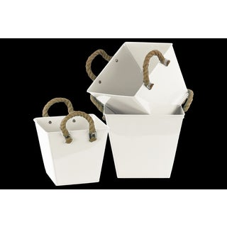 Zinc Square Bucket with 2 Rope Handles, Ribbed Sides and Tapered Bottom Set of Three Coated Finish White