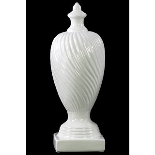 Ceramic Finial With Base Large Gloss Finish White