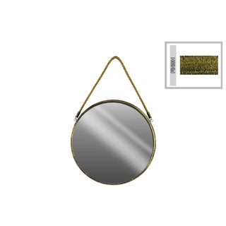 Metal Round Wall Mirror with Rope Hanger Small Tarnished Finish Gold