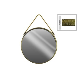 Tarnished Gold Finish Metal Large Round Wall Mirror with Rope Hanger