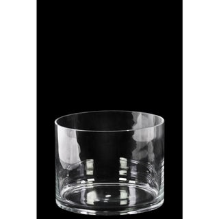 Glass Short Wide Cylinder Vase with Round Mouth Small Clear Glass Finish Achromatic