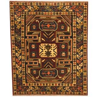 Herat Oriental Afghan Hand-knotted Kazak Burgundy/ Gold Wool Rug (5'2 x 6'2)