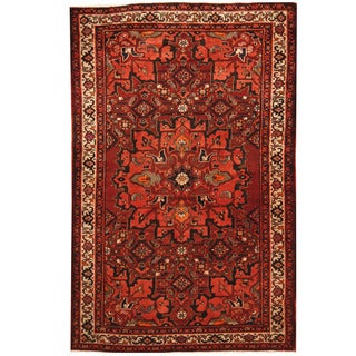 Herat Oriental Persian Hand-knotted Tribal 1960s Semi-antique Bakhtiari Red/ Ivory Wool Rug (4'3 x 6'6)