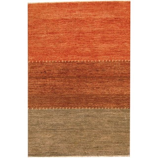 Herat Oriental Afghan Hand-knotted Gabbeh Rust/ Gray Wool Rug (4'2 x 6')