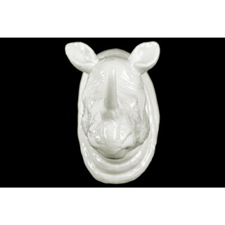 Ceramic Rhino Head Wall Decor Gloss Finish White