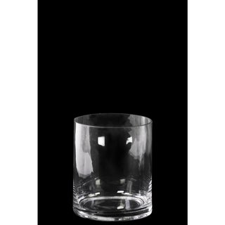 Clear Glass Short Cylinder Vase with Round Mouth