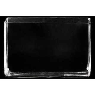 Glass Rectangular Vase with Rectangular Mouth Clear Glass Finish Achromatic