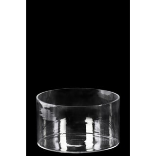 Glass Low Wide Cylinder Vase with Round Mouth Clear Glass Finish Achromatic