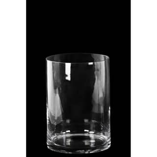Glass Wide Cylinder Vase with Round Mouth Small Clear Glass Finish Achromatic|https://ak1.ostkcdn.com/images/products/11607982/P18545601.jpg?impolicy=medium