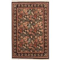 Herat Oriental Pakistani Hand-knotted Aubusson Wool Rug (4' x 6'2) - 4' x 6'2