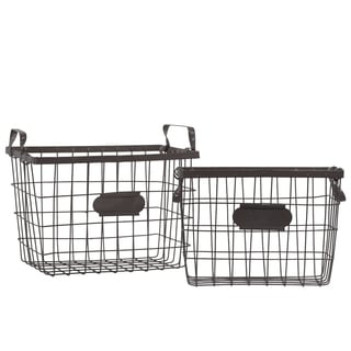 Metal Wire Basket with Mesh Sides, Handles and Card Holders Set of Two Coated Finish Dark Espresso Brown