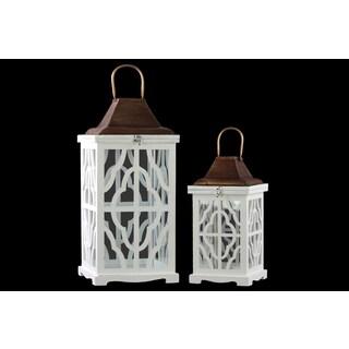 Coated White Finish Wood Rectangular Lantern with Cooper Pierced Metal Top (Set of 2)