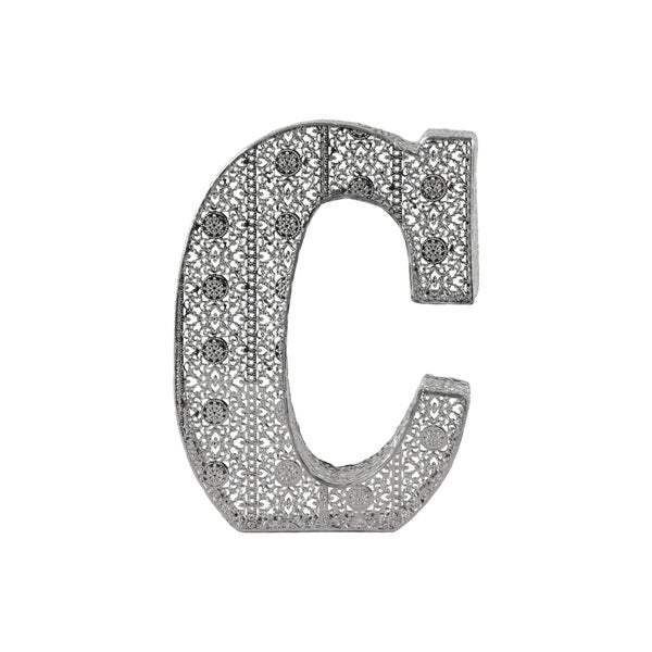 letter c wall decor metal alphabet wall decor letter 39 c 39 with pierced metal 22784 | Metal Alphabet Wall Decor Letter C with Pierced Metal Design Distressed Metallic Finish Silver 19819ba1 5035 49a5 bc64 e600d48540ca 600