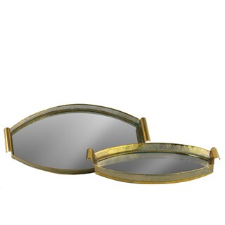 Metal Oval Tray with Pierced Metal Frame, Mirror Surface and Handle Set of Two Electroplated Finish Gold