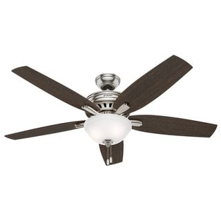 Hunter Fan Newsome Collection 56-inch Brushed Nickel with 5 Dark Walnut/ Medium Walnut Reversible Blades