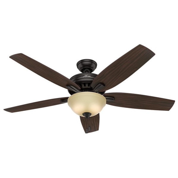 Hunter Fan Newsome Collection 56-inch Premier Bronze with 5 Roasted Walnut/ Yellow Walnut Reversible Blades