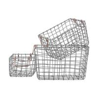 Metal Rectangular Nesting Wire Basket with 2 Handles Set of Three Coated Finish Silver