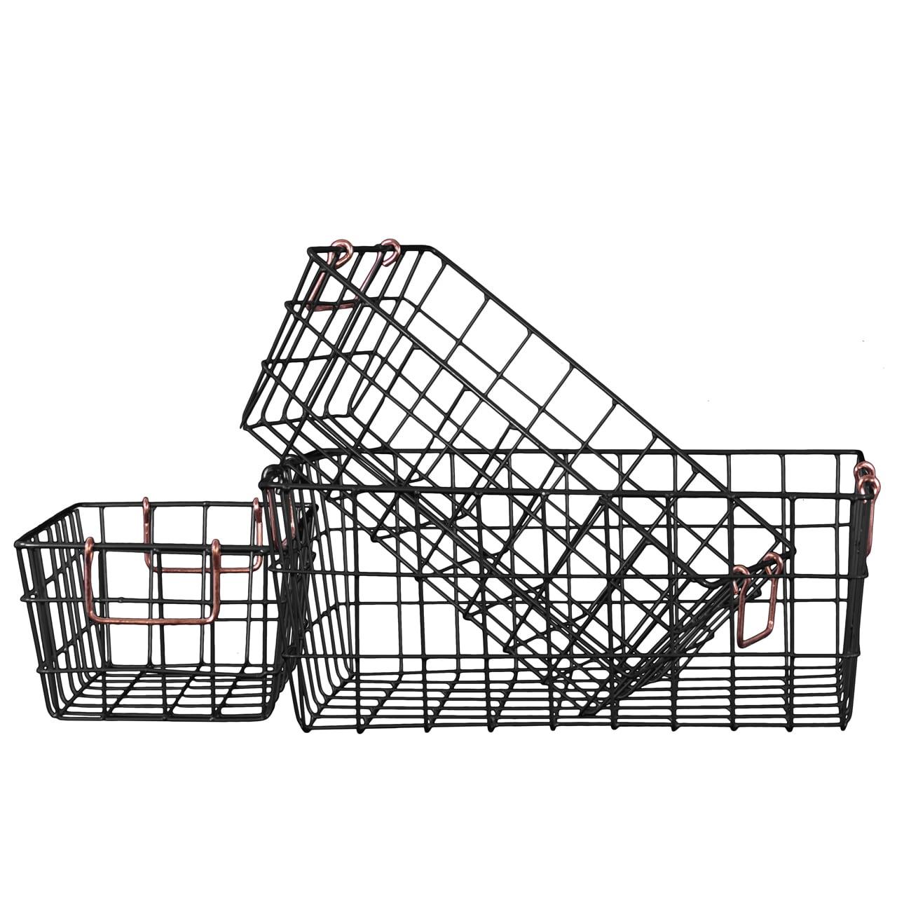 Metal Rectangular Wire Basket (Set of Three)   eBay