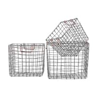 Silver Coated Finish Metal Square Nesting Wire Basket with Handles (Set of 3)