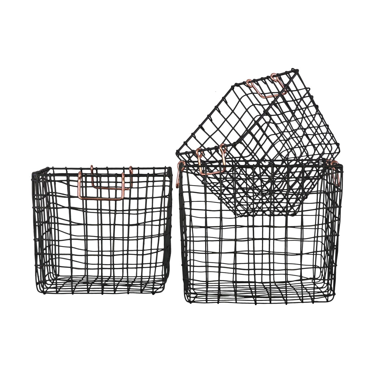 Urban Trend Metal Square Nesting Wire Basket with 2 Handl...