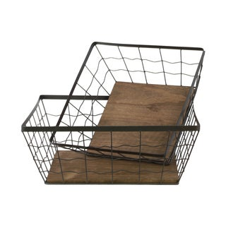 Metal Square Wire Basket with Mesh Body (Set of Two)