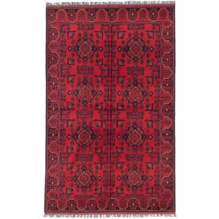 ecarpetgallery Hand-Knotted Finest Khal Mohammadi Red Wool Rug (4'2 x 6'8)