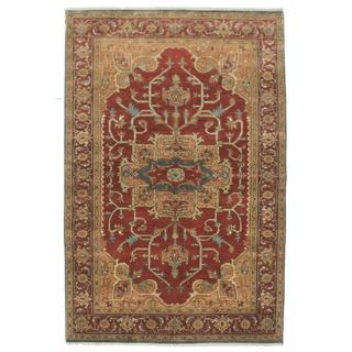 ecarpetgallery Hand-Knotted Serapi Heritage Brown Wool Rug (5'8 x 9'0)