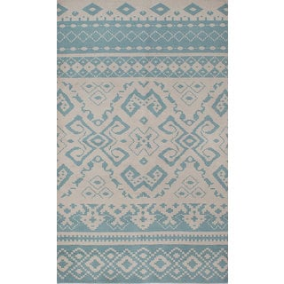 ecarpetgallery Hand-Knotted Eternity Beige, Blue Wool Rug (4'10 x 8'1)