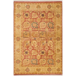 ecarpetgallery Hand-Knotted Peshawar Oushak Brown, Yellow Wool Rug (4'0 x 5'11)