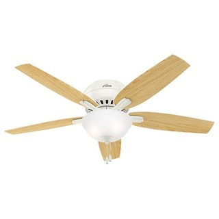 Hunter Fan Newsome Collection 52-inch White Finish with 5 Fresh White/ Light Oak Reversible Blades