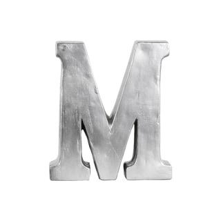 Fiberstone Alphabet Tabletop Decor Letter M Bead Blasted Finish Silver