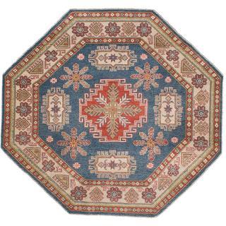 ecarpetgallery Hand-Knotted Finest Gazni Blue Wool Rug (6'2 x 6'2)