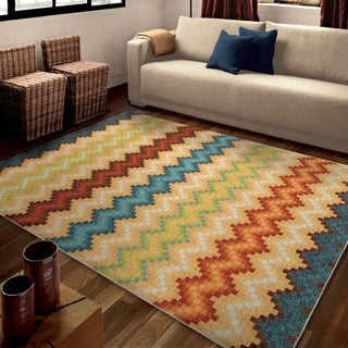 "Carolina Weavers Bright Color Pulsating Chevron Multi Area Rug (7'10"" x 10'10"")"