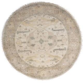 ecarpetgallery Hand-Knotted Royal Ushak Beige Wool Rug (9'10 x 9'10)