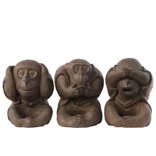 Natural Brown Finish Polyresin Sitting Monkey No Evil (Hear/Speak/See) Figurine (Set of 3)