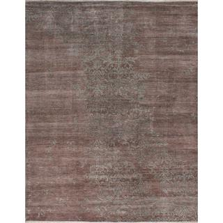 Hand-knotted Jules Ushak Brown Silk Rug - 9'2 x 11'10