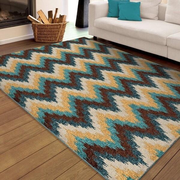 "Carolina Weavers Indoor/Outdoor Santa Barbara Collection Woodlands Multi Area Rug - 7'8"" x 10'10"""