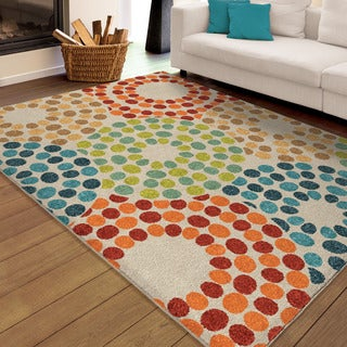Carolina Weavers Indoor/Outdoor Santa Barbara Collection Sprinkled Doughnut Multi Area Rug (7'8 x 10
