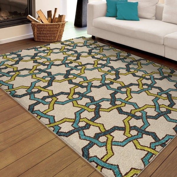 "Carolina Weavers Indoor/Outdoor Santa Barbara Collection Quillen Multi Area Rug (7'8 x 10'10) - 7'8"" x 10'10"""