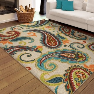 "Carolina Weavers Indoor/Outdoor Paisley Pampano Multi Area Rug (7'8"" x 10'10"")"