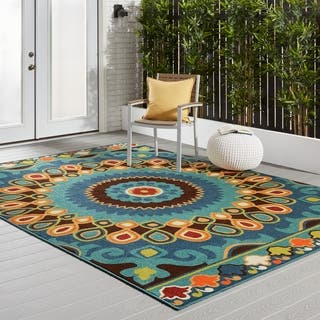 Carolina Weavers Indoor/Outdoor Santa Barbara Collection Bangkok Multi Area Rug (7'8 x 10'10)|https://ak1.ostkcdn.com/images/products/11608211/P18545842.jpg?impolicy=medium