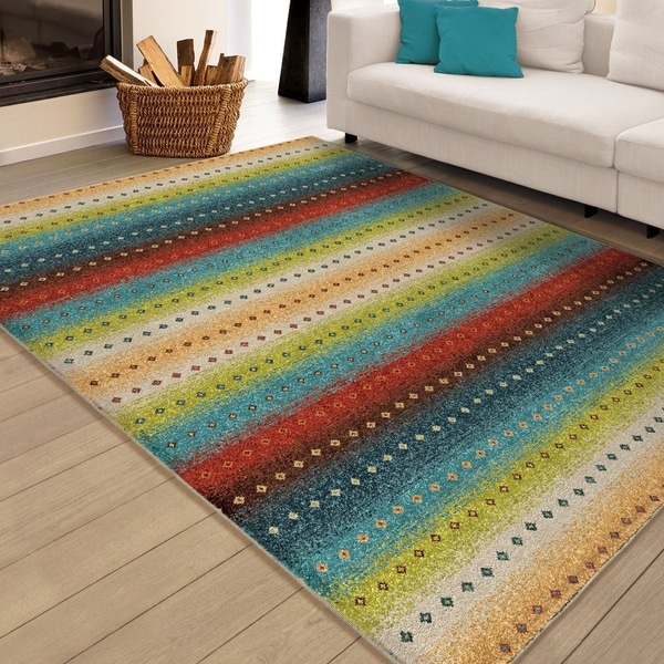 "Carolina Weavers Indoor/Outdoor Santa Barbara Collection Sarthe Stripes Multi Area Rug - 7'8"" x 10'10"""