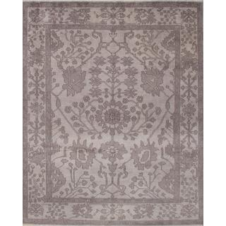 ecarpetgallery Hand-Knotted Ushak Grey Wool Rug (8'0 x 9'11)
