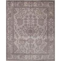ecarpetgallery Hand-Knotted Ushak Grey Wool Rug (8'0 x 9'11)