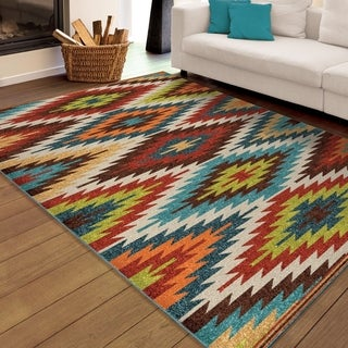 Carolina Weavers Indoor/Outdoor Santa Barbara Collection Flagstaff Multi Area Rug (7'8 x 10'10)